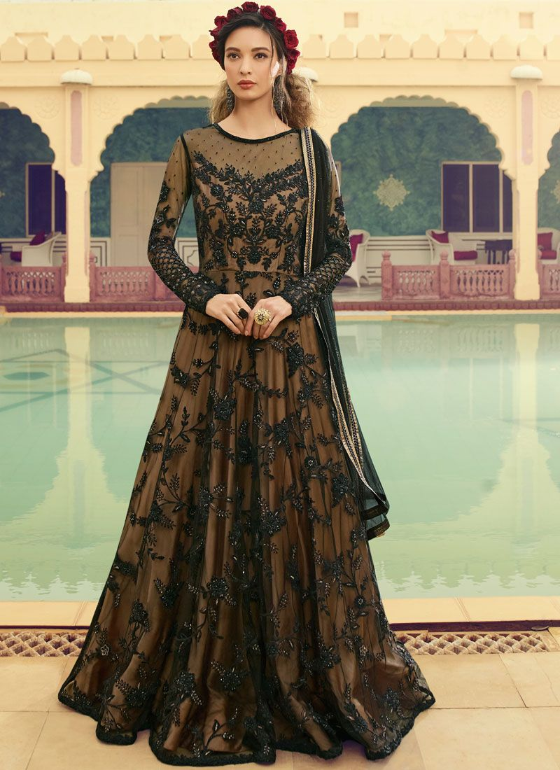 Black Wedding Floor Length Anarkali Suit