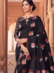 Black Woven Art Silk Designer Traditional Saree