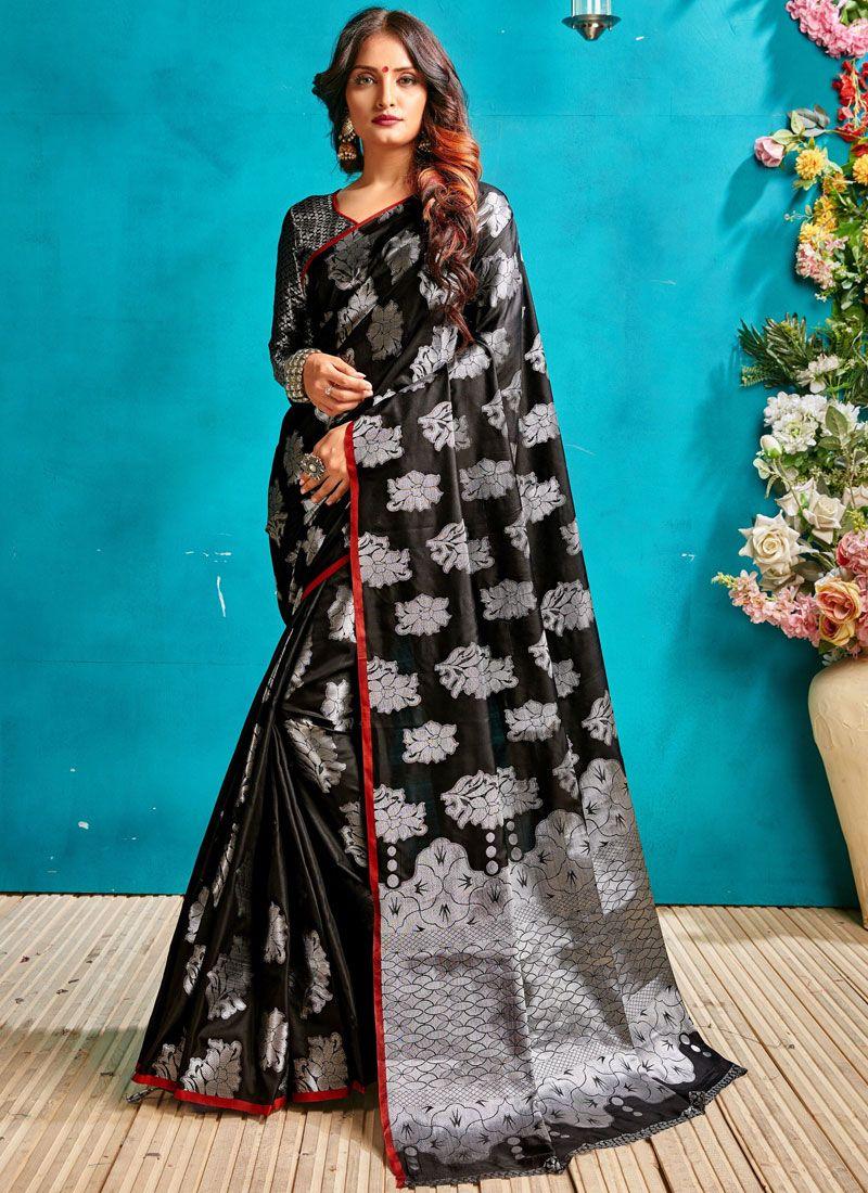 Black Woven Ceremonial Traditional Saree
