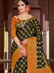 Black Woven Tussar Silk Traditional Saree