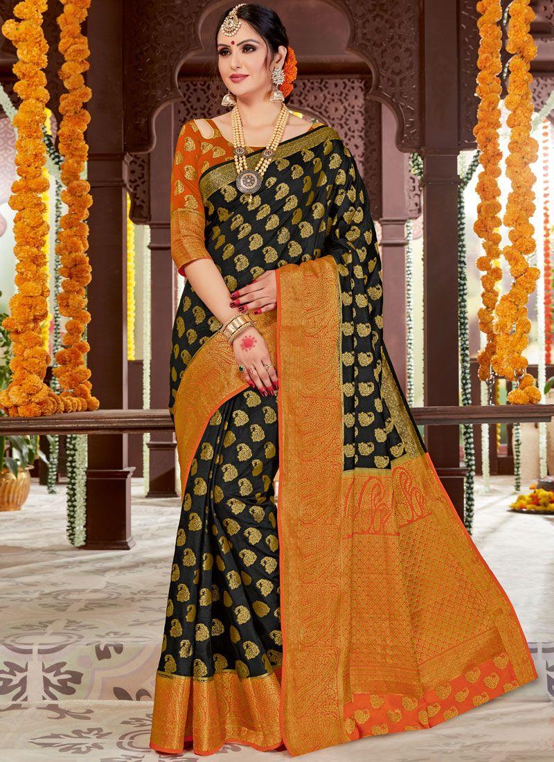 Black Woven Tussar Silk Traditional Saree