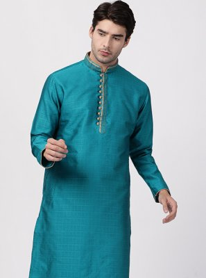 Blended Cotton Blue Kurta Pyjama
