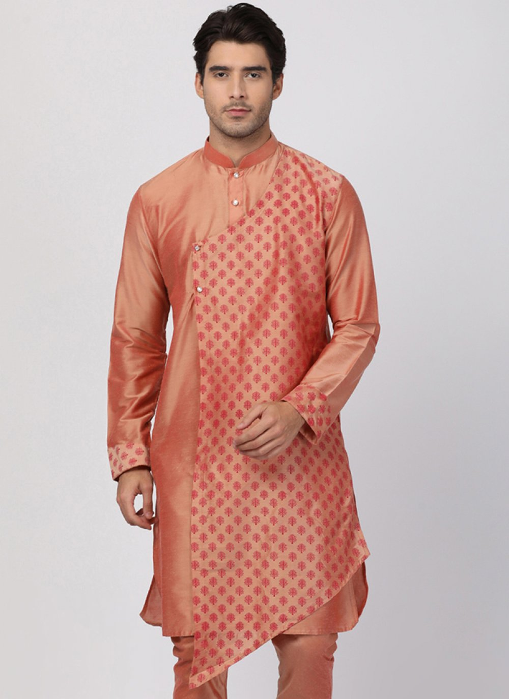 Blended Cotton Embroidered Gold Kurta