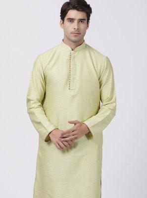Blended Cotton Green Embroidered Kurta Pyjama