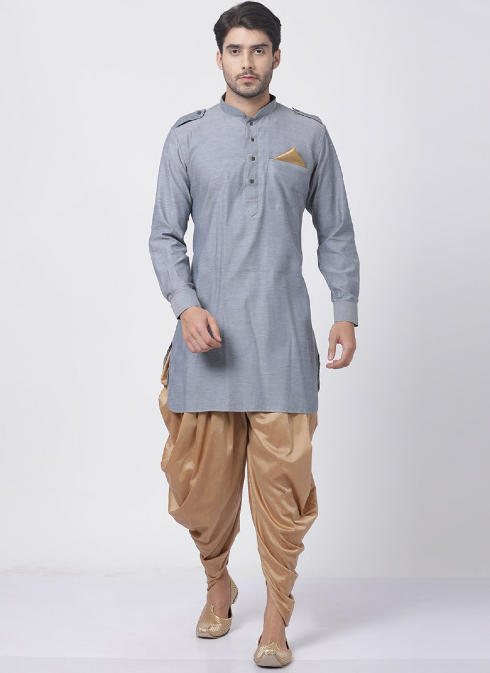 Blended Cotton Grey Dhoti Kurta