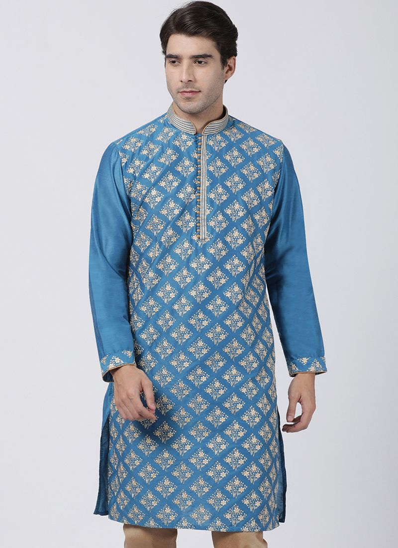 Blended Cotton Kurta in Turquoise