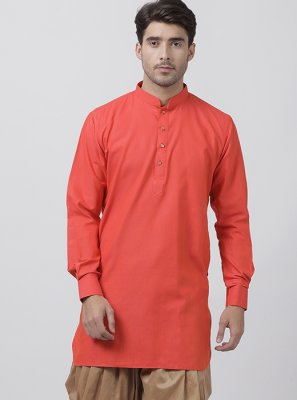 Blended Cotton Orange Plain Dhoti Kurta