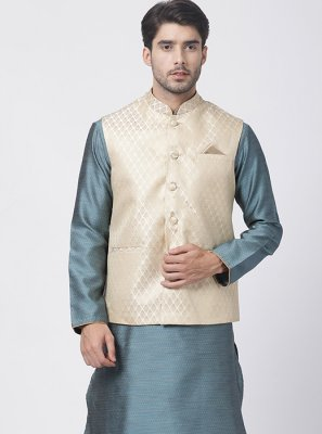 Blended Cotton Plain Blue Kurta Payjama With Jacket