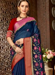 Blended Cotton Print Navy Blue Classic Saree
