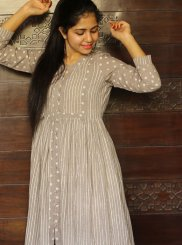 Block Print Cream Cotton Trendy Gown