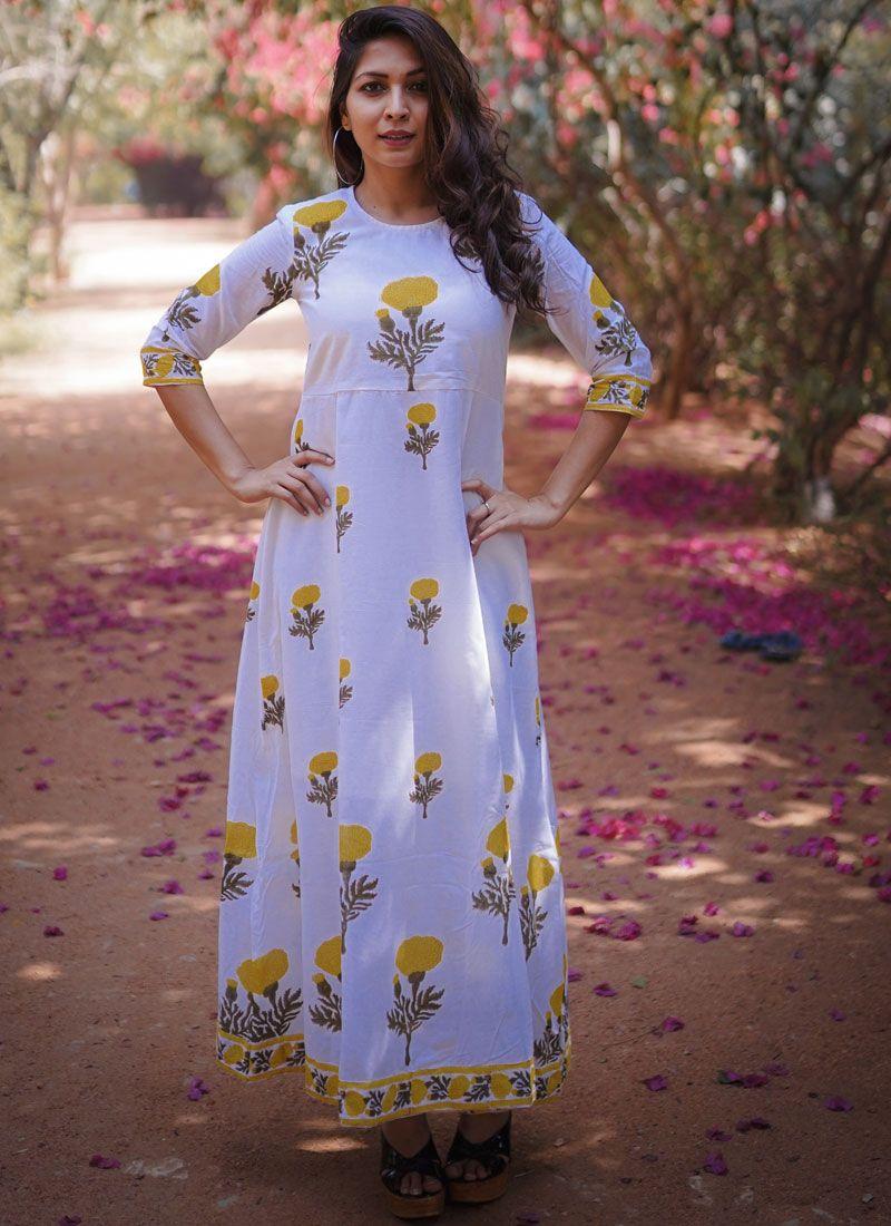 Block Print Lavender Cotton Trendy Gown