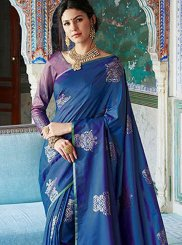 Blue Abstract Print Designer Saree