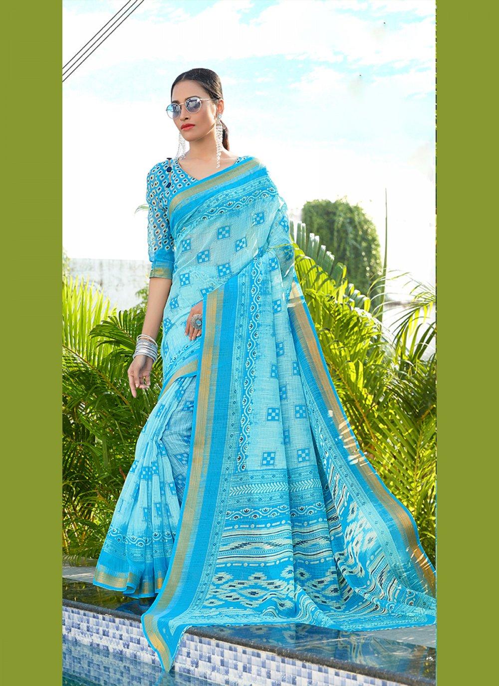 Blue Abstract Print Party Printed Saree