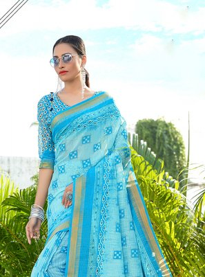 Blue Abstract Print Party Printed Saree