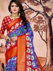 Blue Abstract Print Printed Saree