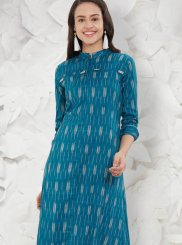 Blue Abstract Print Rayon Casual Kurti