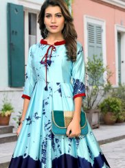 Blue Abstract Print Satin Party Wear Kurti