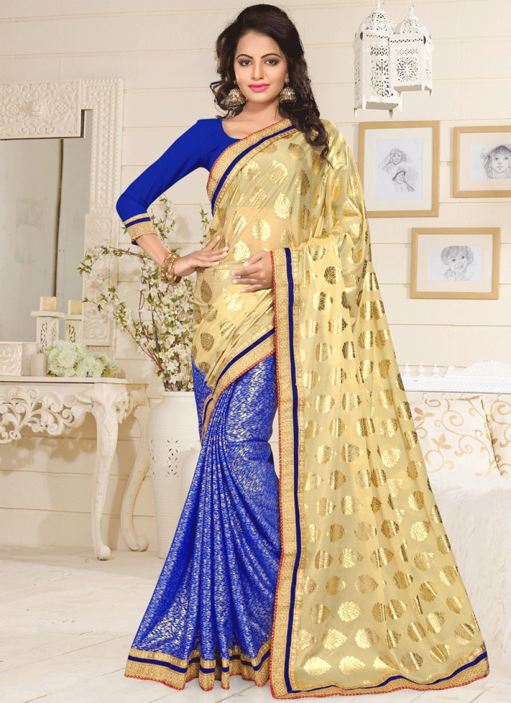 Blue and Cream Lace Work Lycra Designer Half N Half Saree