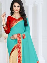 Blue and Cream Patch Border Faux Georgette Designer Half N Half Saree