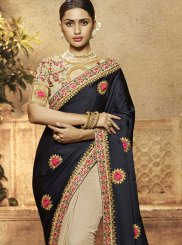 Blue and Cream Resham Art Silk Trendy Saree