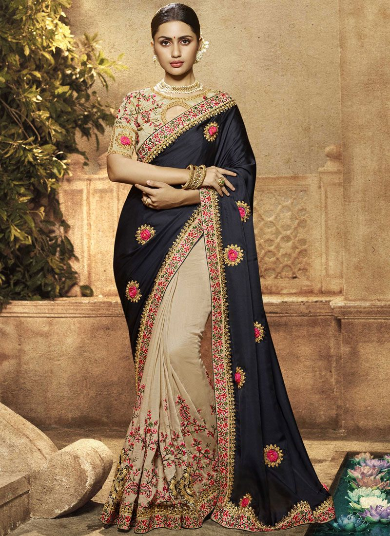Blue and Cream Resham Art Silk Trendy Saree