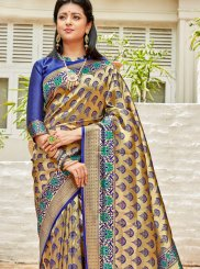 Blue and Gold Art Silk Designer Saree
