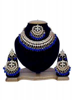 Blue and Gold Stone Work Sangeet Necklace Set