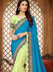 Blue and Green Ceremonial Classic Designer Saree