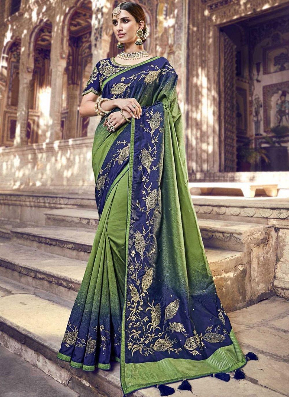 Blue and Green Embroidered Banarasi Silk Classic Saree