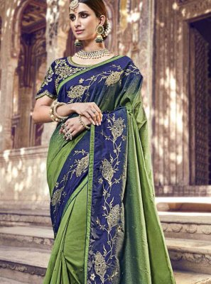 Blue and Green Embroidered Banarasi Silk Classic Saree