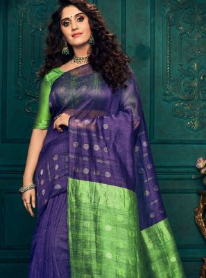 Blue and Green Silk Wedding Designer Traditional Saree