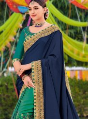 Blue and Green Zari Designer Half N Half Saree