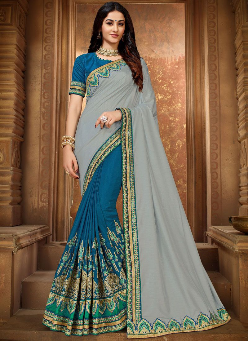 Blue and Grey Ceremonial Classic Designer Saree