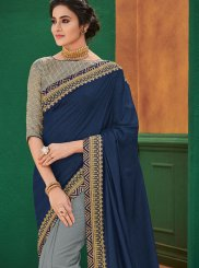 Blue and Grey Embroidered Half N Half Designer Saree