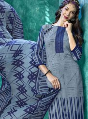 Blue and Grey Faux Crepe Salwar Suit