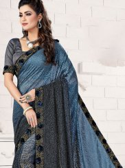 Blue and Grey Patch Border Classic Saree