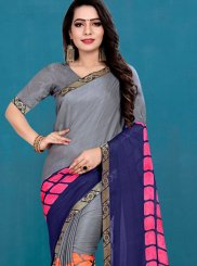 Blue and Grey Printed Festival Casual Saree