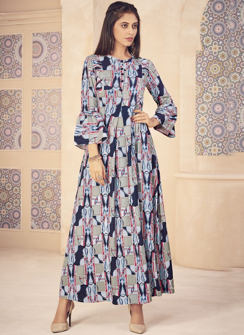 2bf64f5467 Buy Online Blue and Grey Printed Party Designer Kurti : 98150 -