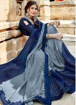 Blue and Grey Traditional Designer Saree