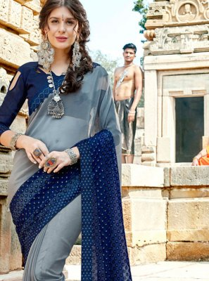 Blue and Grey Traditional Designer Saree