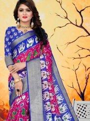 Blue and Hot Pink Abstract Print Printed Saree