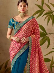 Blue and Hot Pink Art Silk Wedding Designer Half N Half Saree