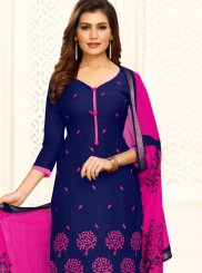 Blue and Hot Pink Embroidered Cotton Churidar Suit