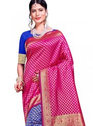 Blue and Hot Pink Weaving Designer Traditional Saree