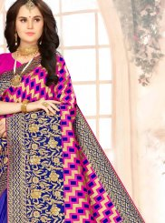 Blue and Magenta Weaving Ceremonial Designer Half N Half Saree