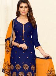 Blue and Mustard Cotton Embroidered Churidar Salwar Suit