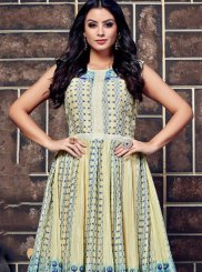 Blue and Off White Casual Casual Kurti