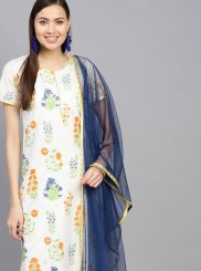 Blue and Off White Party Cotton Casual Kurti