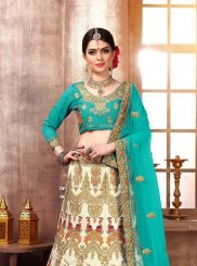 Blue and Off White Zari Designer Lehenga Choli
