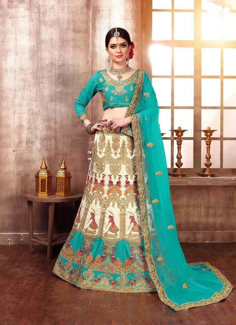 Blue and Off White Zari Designer Lehenga Choli